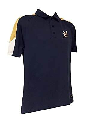 MLB Milwaukee Brewers Men's Blue Polo Embroidered Logo TX3 Cool Gold & White Shoulder Sleeves