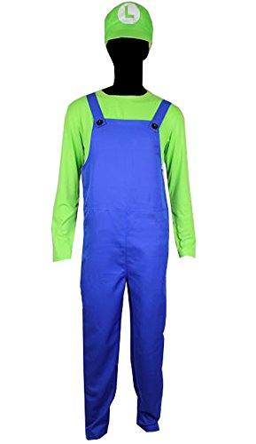 Mario Brothers Luigi Deluxe Outfit Adult Costume Jumpsuit Hat Shirt