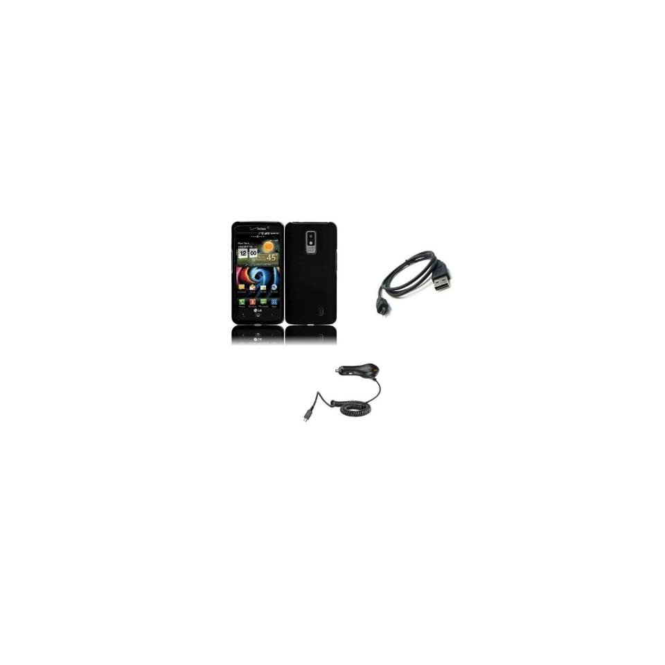 LG Spectrum (Verizon) Premium Combo Pack   Black Hard Shield Case Cover + Car Charger + Micro USB Data Cable + FREE Zombeez Key Tag