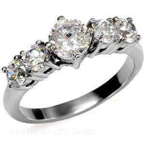 Stainless Steel CZ Round Engagement Ring Size 5/6/7/8/9/10 (5)