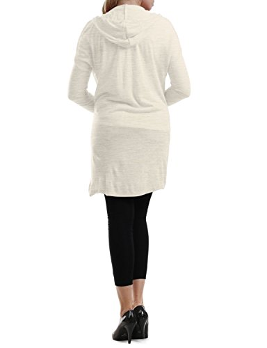 NINEXIS Women's Hooded Long Sleeve Longline Cardigan with Patch Pockets BEIGE 2XL