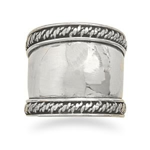 Sterling Silver Bali Rope Edge Ring / Size 9