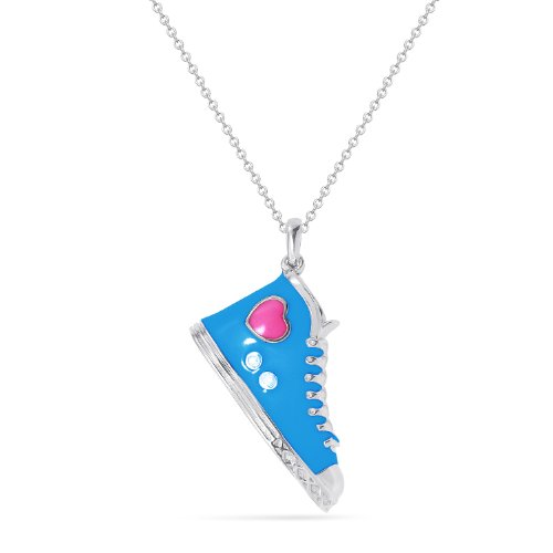 Sterling Silver Blue Enamel Sneaker with Diamond-Accent Pendant Necklace (0.01 cttw, I-J Color, I2-I3 Clarity), 18