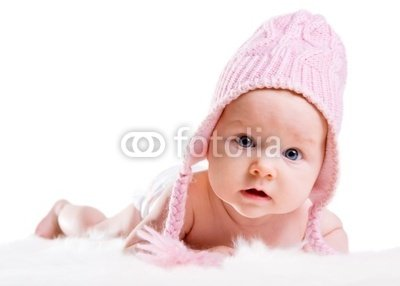 Wallmonkeys Peel and Stick Wall Decals - Portrait of Three Months Old Baby Girl Wearing Pink Winter Hat - 18