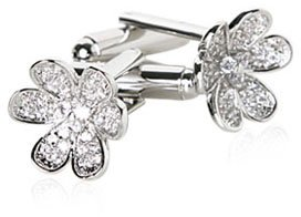 Gorgeous CZ Pave Silver Plated Flower Cufflinks with Presentation Box