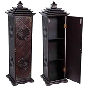 "32"" Qing Pagoda CD / DVD Rack Cabinet Case w/ Long Life Symbol"