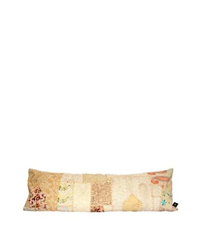 Uptown Down Vintage One-of-a-Kind Patchwork Lumbar Pillow, Crème