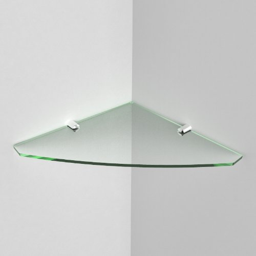 250mm Acrylic Corner Safety Shelf - bathrooms, bedrooms, offices, Glass Effect