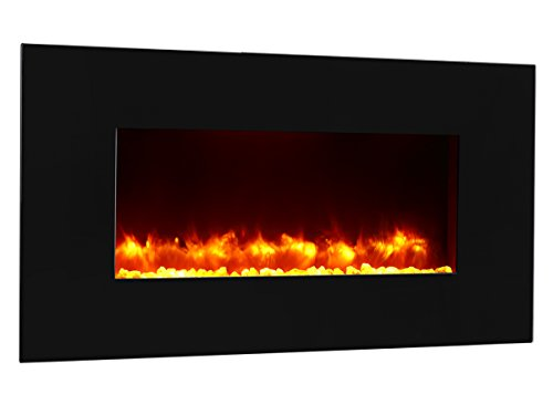 PuraFlame Rossano black 47 inch remote control wall mounted flat panel fireplace heater, 750W/1500W. Classic and high quality, Anti-drying, keep indoor humidity picture