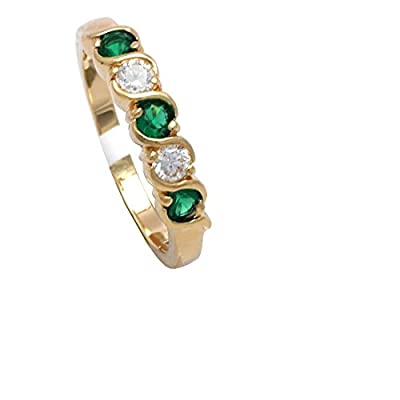 Simply Glamorous Jewellery- 18ct Gold Filled Half Eternity Ring Green Emerald And Simulated Diamond