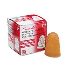 -- Rubber Finger Tips, Size 14, X-Large, Amber, 1/Dozen