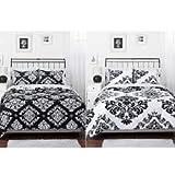 Classic Noir Black White Damask Reversible 3-Piece Bedding Comforter Set FULL