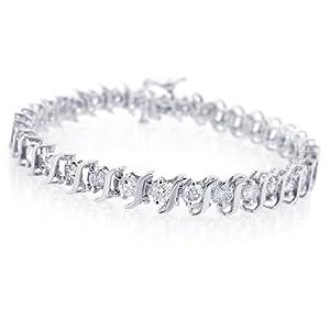 14K White Gold Diamond S-Link Tennis Bracelet (1 cttw, J-K Color, I2-I3 Clarity) - 7