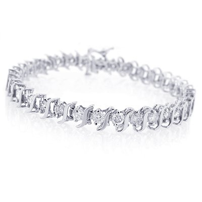 14K White Gold Diamond S-Link Tennis Bracelet (1 cttw, J-K Color, I2-I3 Clarity) - 7