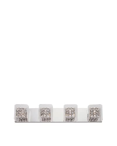 Bel Air Lighting Block Crystal 4-Light Vanity, Crystal-Chrome