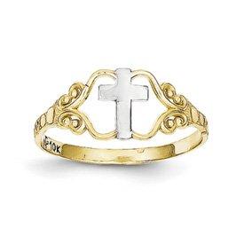 Genuine IceCarats Designer Jewelry Gift 10K & Rhodium Polished Cross Ring Size 6.00