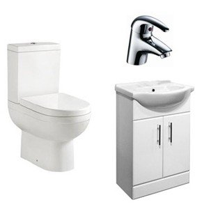 VR Bathroom Vanity Suite Deal (Modern Toilet & 550mm Vanity Unit With Tap) - No Tap