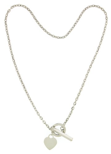 9ct White Gold Heart T-Bar Necklet of 40.64cm