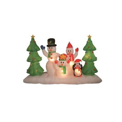 8 Foot Long Inflatable Snowmen Family w/ Pet Penguin Around Christmas Trees