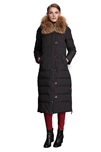 Fast Sister Women's Stylish Down Jackets Thickened Down Coats Parka -L Black