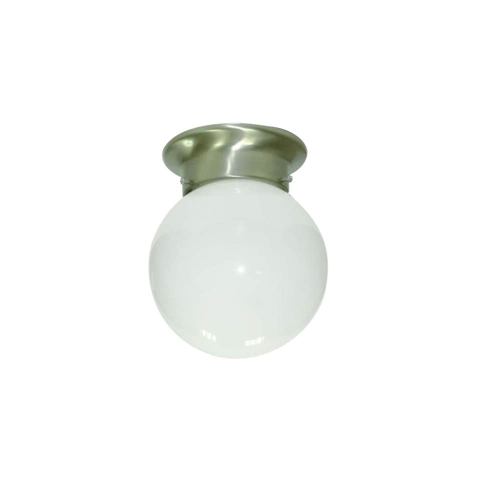 Yosemite Home Decor 77 947SN Leslie 1 Light 5 Inch Ceiling Flush Mount, Satin Nickel Frame