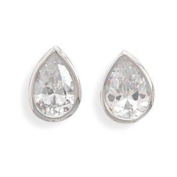 Rhodium Plated Tear Shape CZ Stud Earrings
