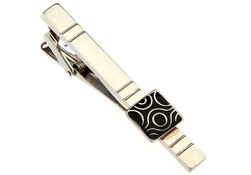 Etched Repeating Groove with Tribal Design Men Tie Clip