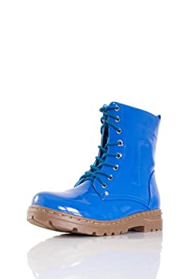 Amazon.com: Bright Patent Leather Lace-up Combat Boot (6