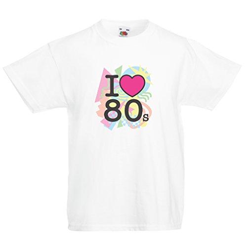 T-shirt per bambini Amo '80s t shirt musica rock bands regalos (12-13 years Bianco Multicolore)