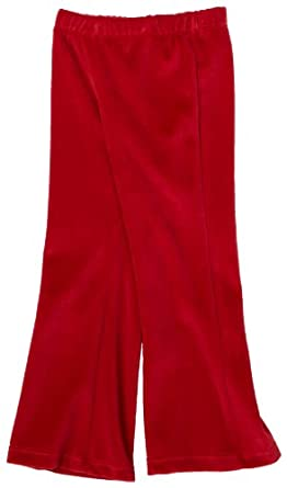 Flap Happy Little Girls' Velour Solid Boot Cut Pant,Red,2