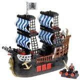 Fisher price Imaginext Black and Red Pirate Ship with 2 Figures