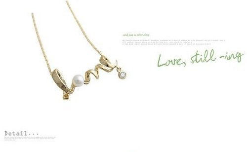Lingstar(TM) Alloy Crystal Golden Vintage Style Symbol Love PEARL Pendant Necklace
