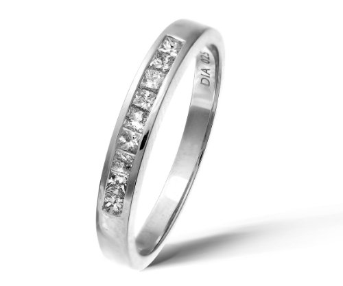 9ct White Gold 0.25ct Princess Cut Diamond Channel Set Half Eternity Ring