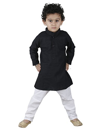 JBN Creation Black Linen Kurta with White Cotton Pyjama