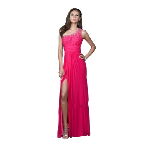 GEORGE BRIDE Red Sheath/ Column One Shoulder Slip Front Evening Dress With Beaded Appliques