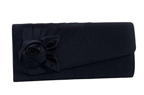 Borsetta donna JEAN MARTEN blu pochette elegante in raso con rosa N506