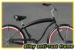 Anti-Rust Aluminum Frame, Fito Modena EX Alloy Shimano 3-speed men's Matte Black/Red Beach Cruiser Bike Bicycle Micargi Firmstrong Schwinn Style