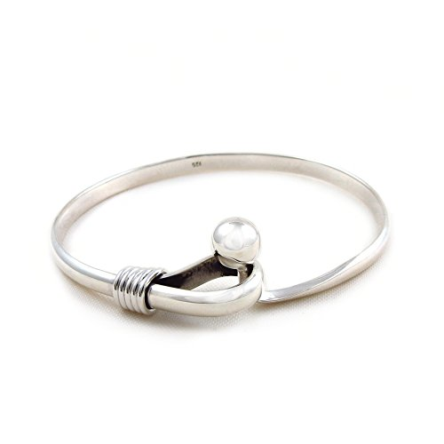 925-Sterling-Silver-Ball-Bead-Bangle-Cuff-with-Hook-20cm
