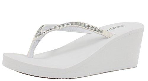 Soda Women Kaku Rhinestone Thong Slip-on Sandals Eva Wedge , White, 9 M US (Sandals By Soda compare prices)
