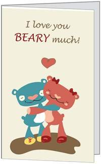 Valentines Day Love Bear Child Spouse Husband Son Daughter Niece Wife Greeting Card (5x7) by QuickieCards. Always Fast FREE Shipping