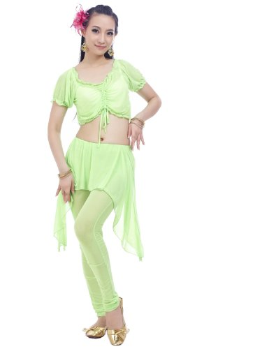 Apple green costume set indian dance performance wear a Transparent water pants of leg of roving