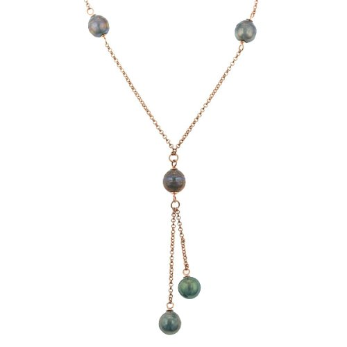 "Sterling Silver Rose Gold Plated Tahitian Drop Pearl ""Y"" Chain Necklace (8-9mm), 16+3"""