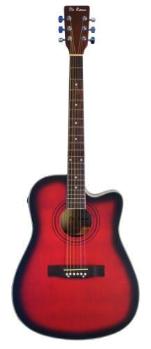 "De Rosa 41"" Inch Cutaway 4 Eq Acoustic Electric Guitar Red With Gig Bag And Accessories, Pick & Directlycheap(Tm) Translucent Blue Medium Guitar Pick"