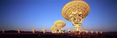 Radio Telescopes In A Field, Very Large Array, National Radio Astronomy Observatory, Magdalena, New Mexico, Usa Art Poster Print Panoramic Images 27X9