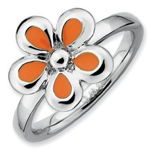 Silver Stackable Orange Enameled Flower Band. Sizes 5-10 Available
