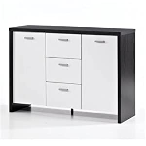black white veneer 2 door 3 drawer sideboard. Black Bedroom Furniture Sets. Home Design Ideas