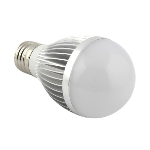 E821 Silver Led Ball Steep Light Ball Lamp 5W Led Light Bulb With E27 Electric Light Socket,Two Color For You Choose (White)