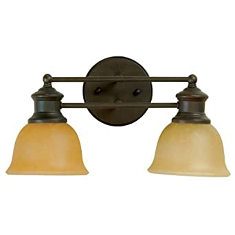 Stained Glass Vanity Light Fixtures : Craftmade 19812AG2 Vanity Light with Tea-Stained Glass Shades, Aged Bronze Finish - Vanity ...