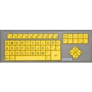 Big Keys Lx - Yellow / Qwerty Keyboard - Large Print Computer Keyboard Usb Wired (Yellow Keys With Black Jumbo Oversized Print Letters) For Visually Impaired Individuals, Low Vision, Or Low Light For Seniors And People With Bad Vision! Imposing Vivid Blac