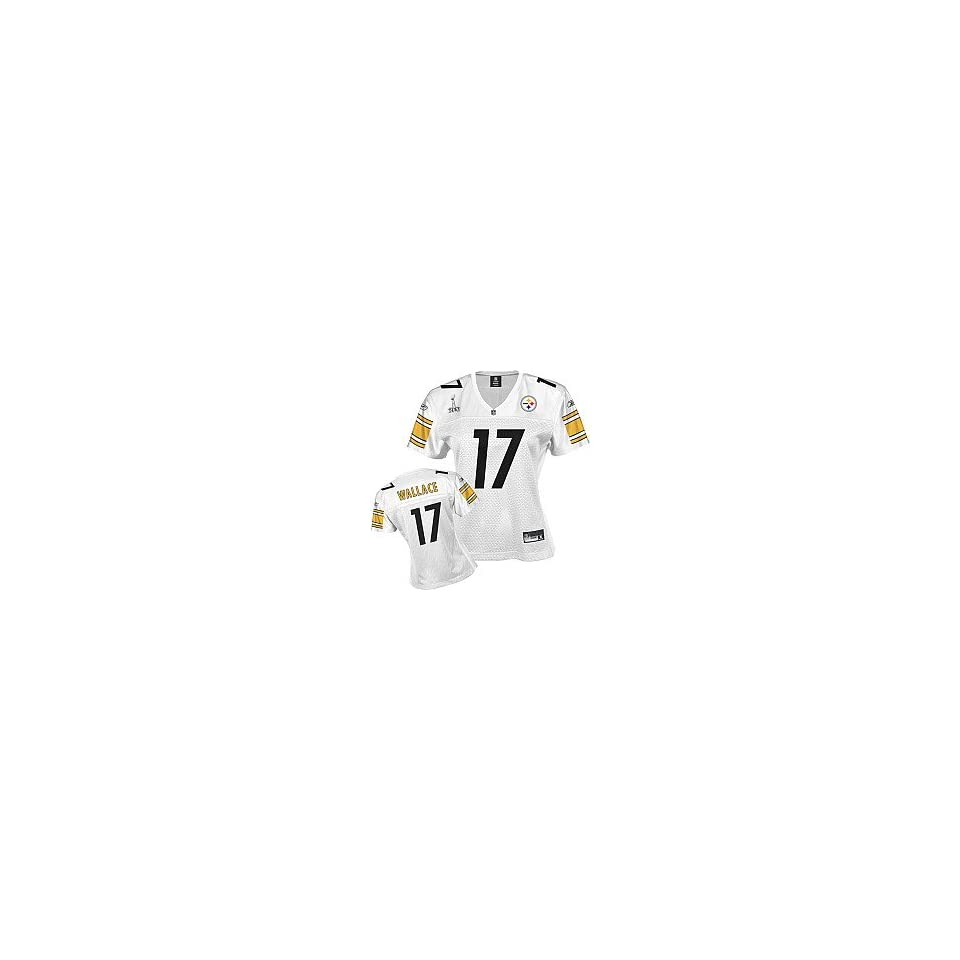 86058789854 Reebok Pittsburgh Steelers Mike Wallace Super Bowl XLV Womens Replica White  Jersey Small